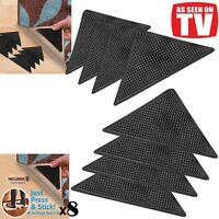 8 X  RUG CARPET MAT GRIPPERS RUGGIES NON SLIP SKID REUSABLE WASHABLE GRIPS UK