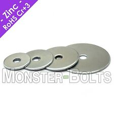 US / Inch - Fender (Penny) Washers, Zinc Plated Steel - #10 (3/16