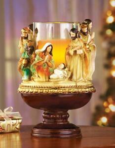 Christmas Nativity Scene Glass Pillar Candle Pedestal Holder