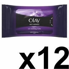 12 x Olay Anti-Wrinkle Cleansing Face Wipes Wet Cloths Age Defying Hydrating 20