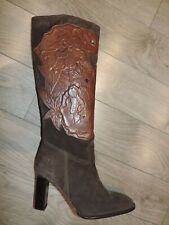 New VALENTINO Garavani Brown Suede Embossed 3D Leather Stones Boots 7.5 - 8 US