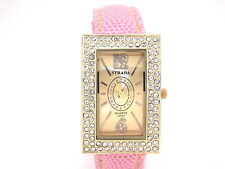 Ladies Austrian Crystal Yellow Gold Watch with Pink Band