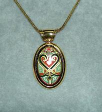 MICHAELA FREY WILLE Austrian Tradition Floral Heart Oval Enamel Pendant Necklace