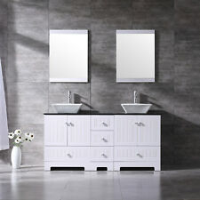 60inch Bathroom Vanity Cabinet Plywood Double Ceramic Vessel Sinks w/Glass Top