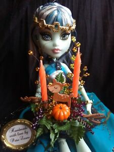 Puppenhaus 1:6 HERBST Deko Miniatur Gesteck Reh mit echten Kerzen z.B. BARBIE