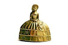 "Vintage Brass Dinner Bell Southern Lady Bonnet Basket Flowers 3.5"" Tall"