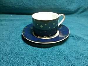 Sakura Galaxy Blue w/14K Gold Stars Dinnerware - Cup and Saucer