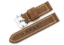 24mm Rust Brown echtes Leder Uhrenarmband Stahl Tan Gürtelschnalle Für Panerai