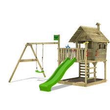 FATMOOSE Spielturm Baumhaus WackyWorld Mega XXL Stelzenhaus Kletterturm Schaukel