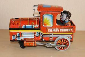 Vintage Hungarian Bell Locomotive Metal Toy Train Rare Electric