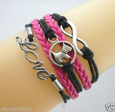Multi-layer Infinity/Cute Dog/Love Charms Leather Braided Bracelet Rose/Black