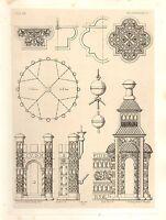 1857 Grande Arquitectura Estampado Monedas Catedral Medieval Gothic Arte