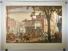VINTAGE 1949 LITHOGRAPH PRINT T.M. CLELAND 'THEATRE' HARRIS OFFSET PRESS TM ART