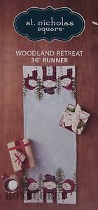 Christmas St Nicholas Square Snowman Woodland Retreat Table Runner 13x36 in NWT
