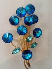 Vintage Blue Sapphire Rivoli Rhinestone Brooch.Gold back. Marked MADE IN AUSTRIA