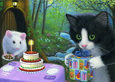 Tuxedo kitten cat mouse birthday cake presents fantasy OE aceo print of painting