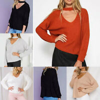 Lady Casual V Neck Choker Jumper 5 Color Loose Short Knitted Sweater Outwear New