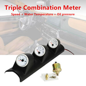 2'' 52mm Car Triple Gauge Kit 3in1 Tachometer RPM Water Temp Oil Pressure Meter