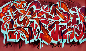 CITYSCAPE GRAFFITI STREET URBAN ART A0 CANVAS PRINT