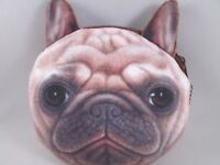 "4"" Tan Pug Dog Polyester Zipper Coin Bag Purse Wallet Makeup Bag"