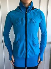 LULULEMON Size 4 Gather Together Jacket Long Simply Jacket Scuba Blue Black Zip