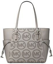 NWT MICHAEL MICHAEL KORS VOYAGER PERFORATED LOGO LEATHER TOTE PEARL GREY