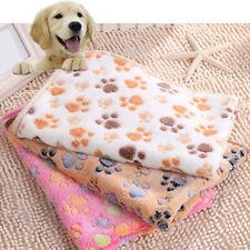 WARM PET MAT CAT DOG PUPPY PAW BONE PRINTED SOFT FLEECE BLANKET BED CUSHION UK