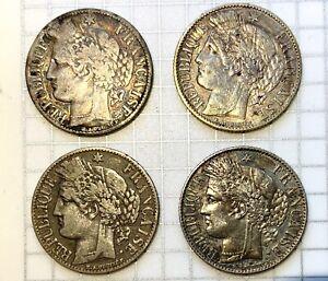 France Silver 1 Franc CERES - 4 Coin Lot - Mix Dates 1871-1887 - Pretty retones!
