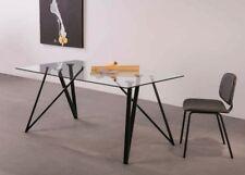 Esstisch Esszimmertisch 160x90 Schwarze Metallfüße Klarglas Platte 10mm