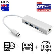 USB 3.1 Type C to HUB 3 Port with RJ45 Gigabit Ethernet Adapter 3.0 USB-C PC MAC