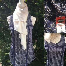 NEXT Size 12 Blue Top & White Scarf 2 Piece Set Summer Outfit BNWT RRP £20
