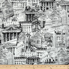 Famous BUILDINGS Fabric Fat Quarter Cotton Craft Quilting CITY LANDMARKS