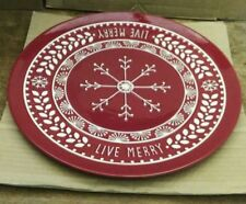 HALLMARK LIVE MERRY 14 INCH HOLIDAY PLATTER ROUND RED WHITE CERAMIC EMBOSSED