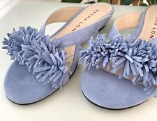 Sacha London Pom Pom Blue Suede Sandals Slides NEW 8.5