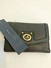 MARC JACOBS Turn Lock Brown Leather Tri-fold Wallet New NWT 8 Card Slots ZipCoin
