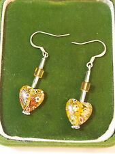 Bead Crystal Wire Earrings 6a 46 Sterling Silver Yellow Millefiori Glass Heart