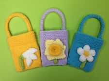 Easter crocheting knitting patterns ebay knitting pattern spring flower charity gift bags 9cm x 7cm great for easter negle Gallery