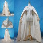 Hot Wedding Cape Bridal Cloak White Ivory Satin Cape with Hood Handfasting AAA