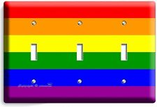 RAINBOW COLORS FLAG TRIPLE LIGHT SWITCH WALL PLATE ROOM DECOR GAY LESBIAN PRIDE