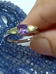 Beautiful Girl's Ring 9 Carat Solid gold Amethyst And Peridot Gems Jewelry Ring