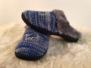 Detroit Lions NFL Knit Faux Fur Slippers Grey Blue Slip On Slides Womens XL