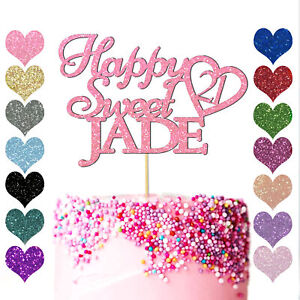 Personalised Happy Sweet Birthday Love Heart Cake Topper 16th 18 21 30 40 50 60