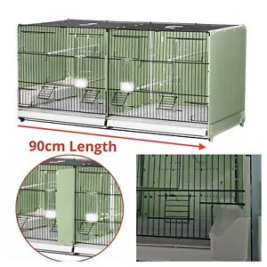 """90cm 35"""" Plastic Double Breeding Cage With Divider - Budgie, Canary, Finch Birds"""