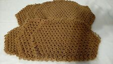 Vintage Place Mats Crochet Brown Lot of 7
