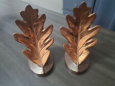 Beautiful Copper Oak Leaf Bookends Philadelphia Mfg Co.