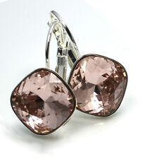 925 Silver Earrings made with Swarovski Crystals SHEENA *VINTAGE ROSE* 12mm