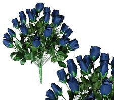 "24 Navy Rosebud 24"" Lg Bouquet Home Office Wedding Party Decor Silk Flower Leaf"