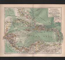 Landkarte map 1889 Westindien und Zentral-Amerika. Panama-Kanal. Nicaragua-Kanal