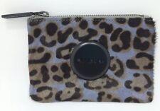 MIMCO Small Pouch Leopard Leather Purse Clutch Wallet Matt Black Button RRP $79