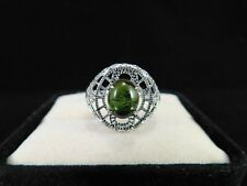1.97 Ct. Oval Cabochon Tourmaline Ring 1920's Style Sterling Silver Filigree